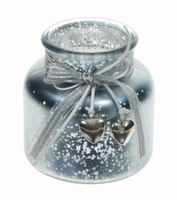 Candleholder van glas Darci metallic blue