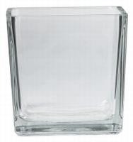 Accubak glas vierkant konisch 15 cm heavy glas