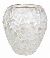 Bloempot Shell Mother of Pearl wit