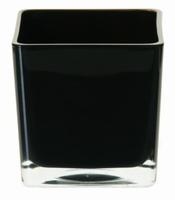 Accubak van gekleurd glas in zwart heavy glas 14 cm