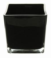 Accubak XL van gekleurd glas in zwart glas 18 cm