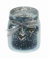 Candleholder van glas Damar metallic blue