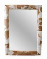 Spiegel Pau van hout met koe motief bruin MAR10