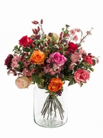 Kunstbloemen Boeket Flaming Roses lengte 50 cm