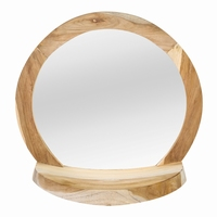 zira wood natural mirror with base round PTMD