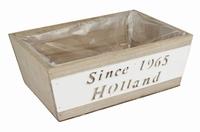 Houten bak rechthoekig bruin Since 1965 Holland