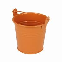 Zinken emmertje oranje glans Ø 8,2 cm