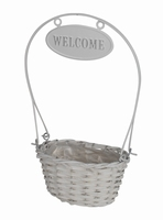 Mand ovaal Welcome wit hoogte 35 cm