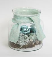 Kerst Arrangement pastel blauw in glas