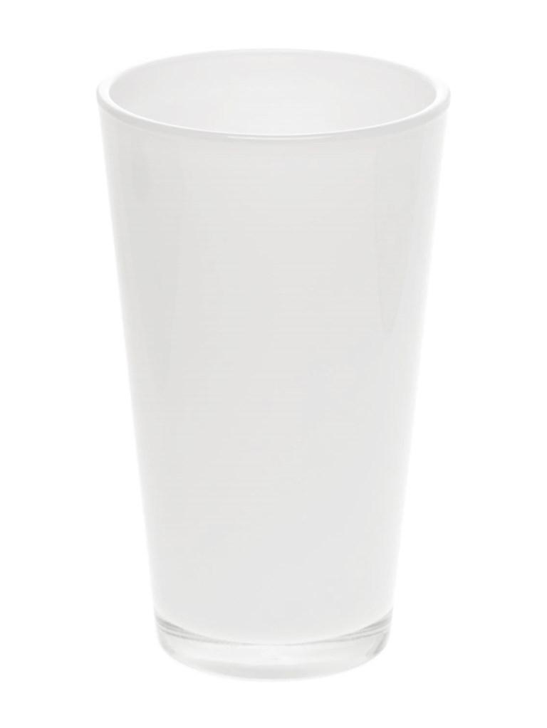 Glaspot gekleurd hoog wit heavy glas